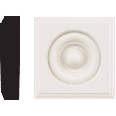 House of Fara 7/8 In. x 3-1/2 In. Primed MDF Rosette