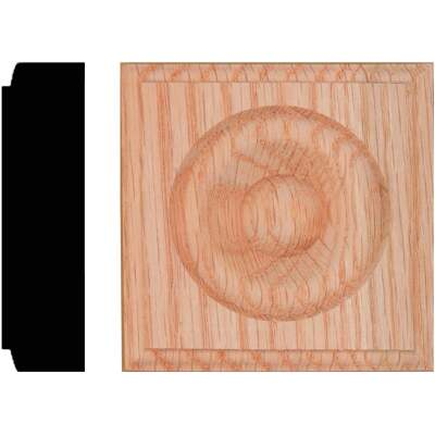 House of Fara 7/8 In. x 3-1/4 In. Unfinished Oak Rosette Block