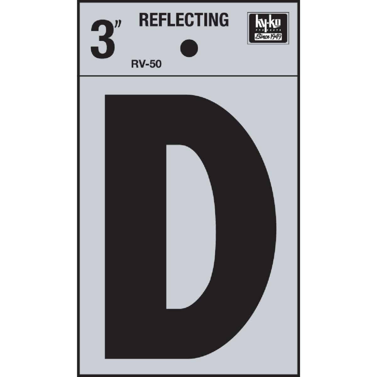 Hy-Ko Vinyl 3 In. Reflective Adhesive Letter, D Image 1