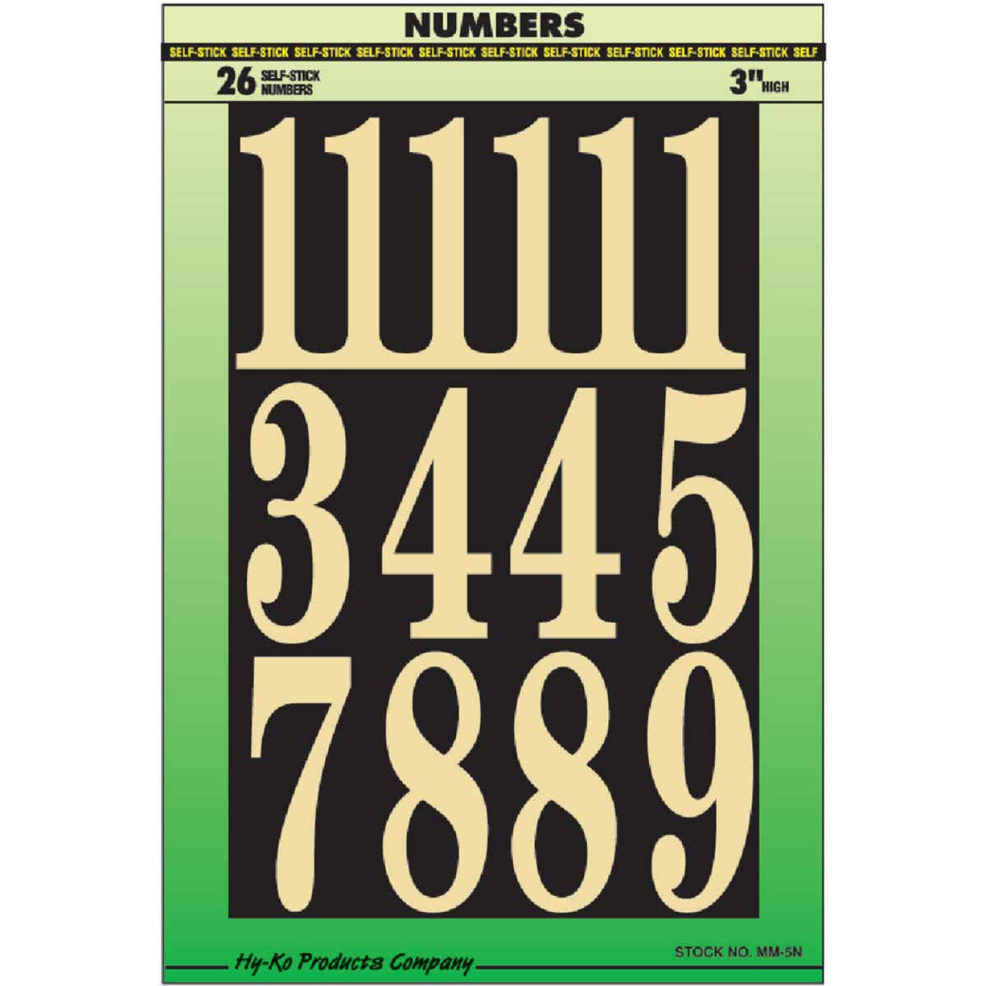 Hy-Ko 3 In. Polyester Adhesive Number Set, 26 Numbers Image 1