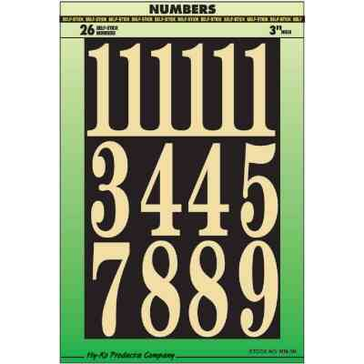Hy-Ko 3 In. Polyester Adhesive Number Set, 26 Numbers