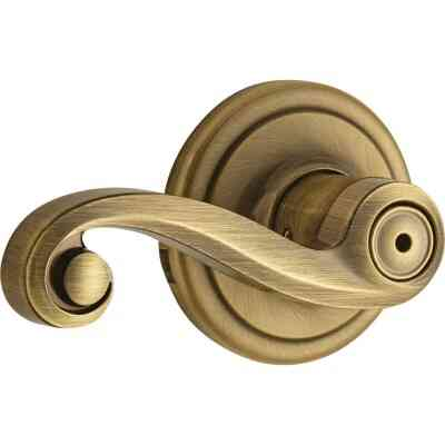 Kwikset Signature Series Antique Brass Lido Privacy Door Lever