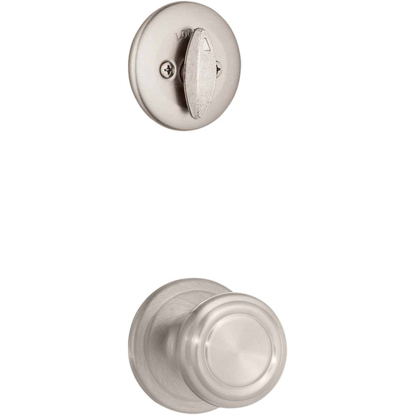 Kwikset Signature Series Chelsea Satin Nickel Entry Door Handleset with Smartkey & Cameron Knob Image 4