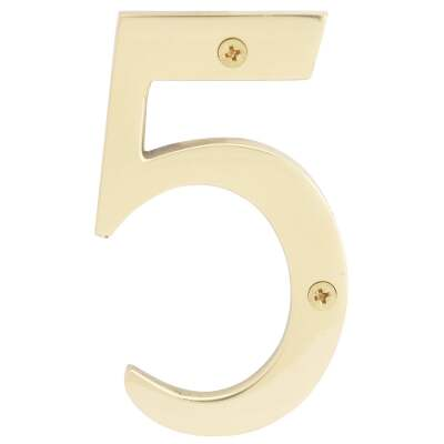 Hy-Ko 4 In. Polished Brass House Number Five