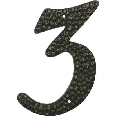 Hy-Ko 3-1/2 In. Black Hammered House Number Three