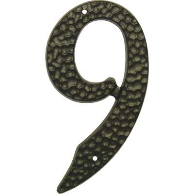 Hy-Ko 3-1/2 In. Black Hammered House Number Nine