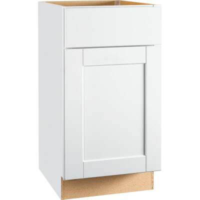 Continental Cabinets Andover Shaker 18 In. W x 34 In. H x 24 In. D White Thermofoil Base Kitchen Cabinet