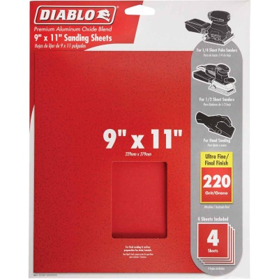 Diablo 9 In. x 11 In. 220 Grit Ultra Fine Sandpaper (4-Pack)
