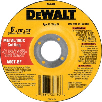 DeWalt HP Type 27 6 In.x  0.045 In. x 7/8 In. Metal/Stainless Cut-Off Wheel