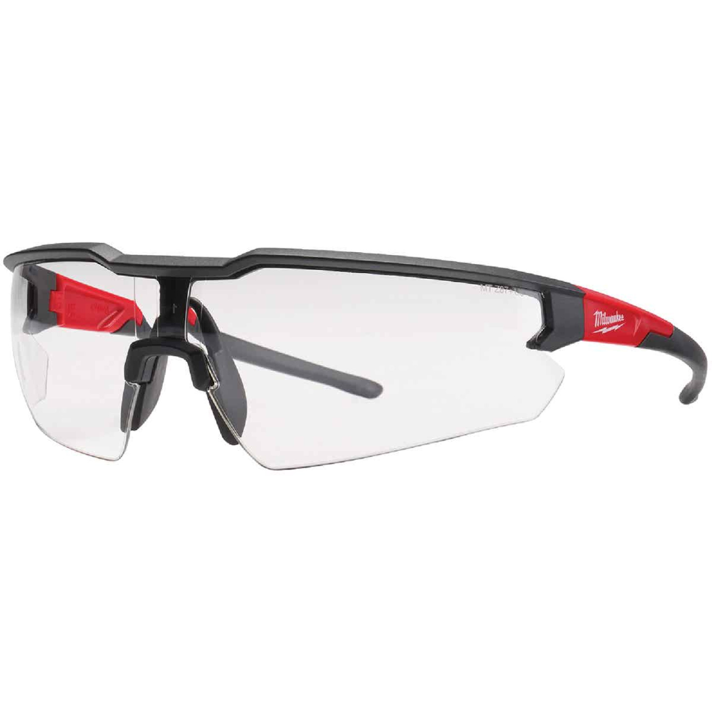 Milwaukee Red & Black Frame Safety Glasses with Clear Fog-Free Lenses Image 1