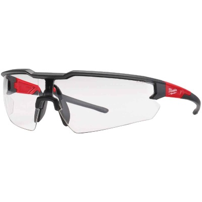 Milwaukee Red & Black Frame Safety Glasses with Clear Fog-Free Lenses