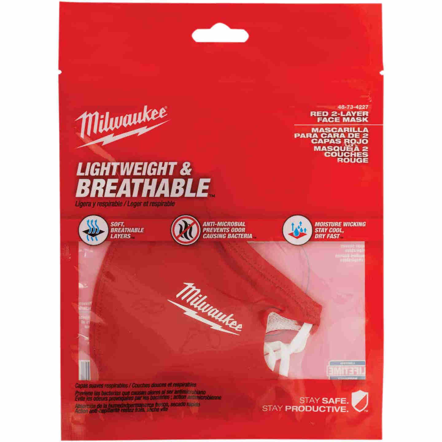 Milwaukee Red 2-Layer Washable Dust & Face Mask Image 4