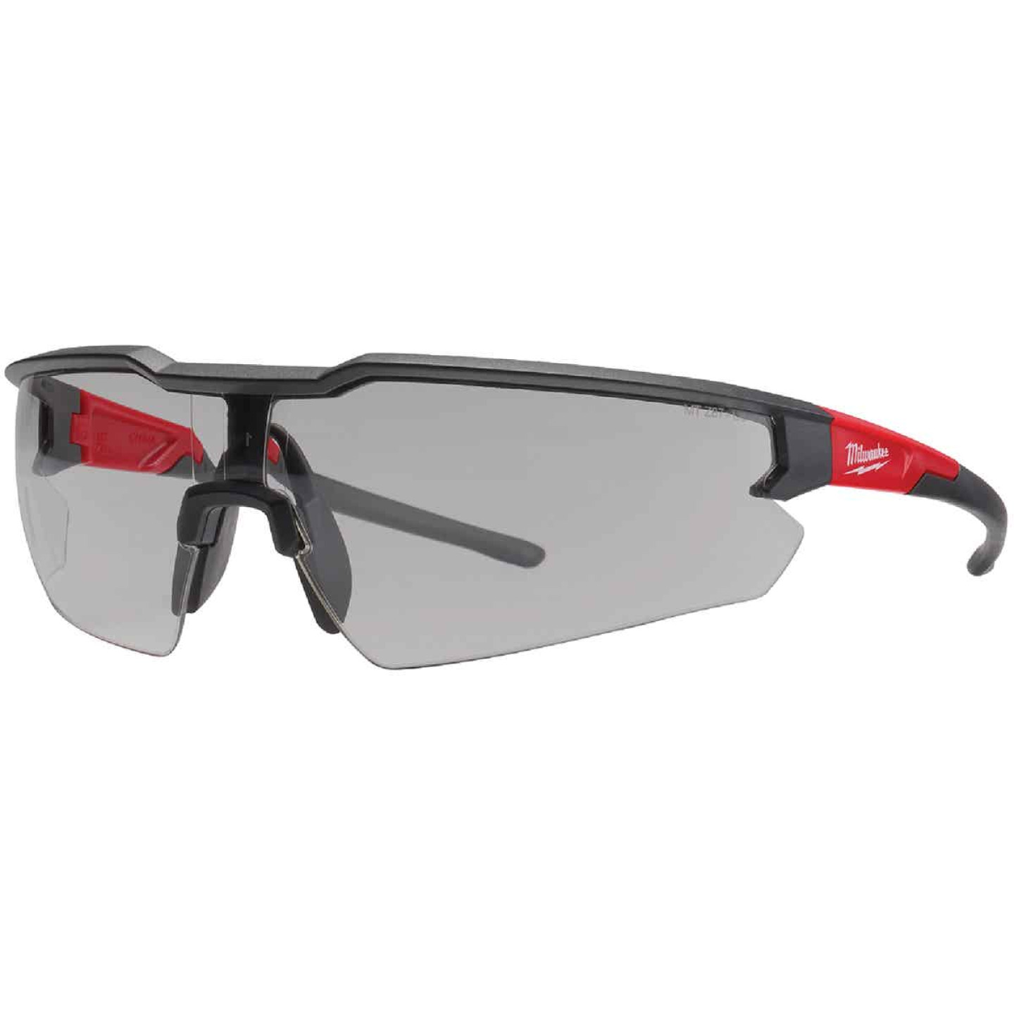 Milwaukee Red & Black Frame Safety Glasses with Gray Fog-Free Lenses Image 1