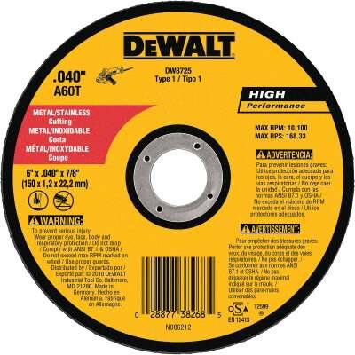DeWalt HP Type 1 6 In. x 0.045 In. x 7/8 In. Metal/Stainless Cut-Off Wheel