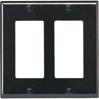 Leviton Decora 2-Gang Smooth Plastic Rocker Decorator Wall Plate, Black