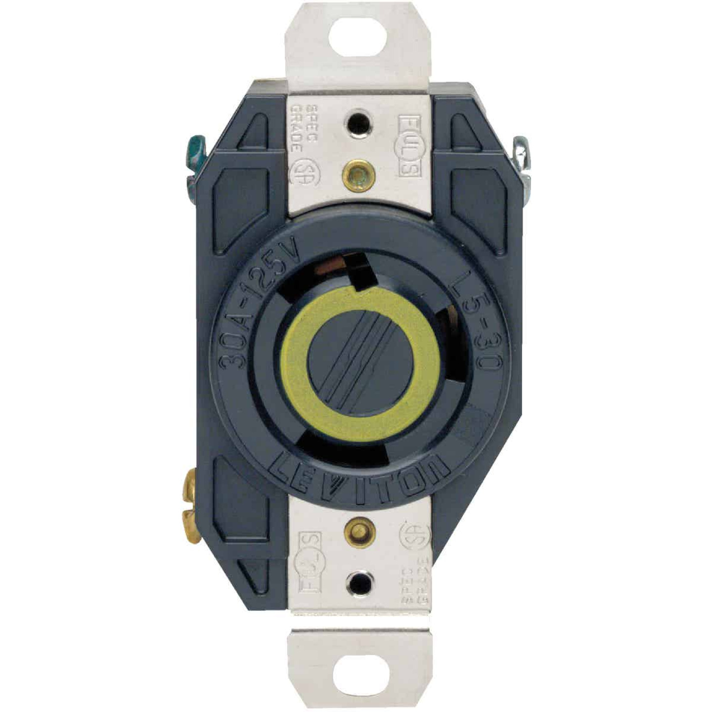 Leviton 30A 125V Black Industrial Grade L5-30R Locking Outlet Receptacle Image 2