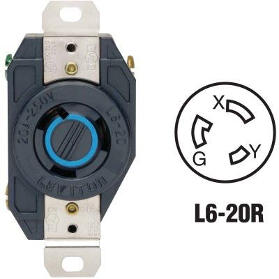 Leviton 20A 250V Black Industrial Grade L6-20R Locking Outlet Receptacle