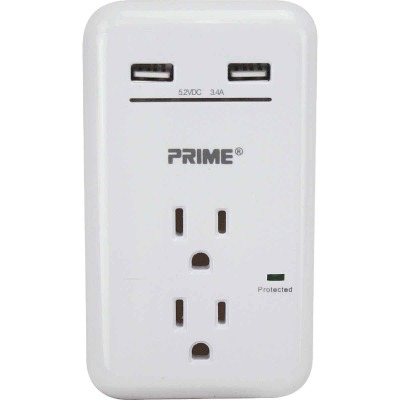 Prime Wire & Cable 2 Power & 2 USB White Wall Charger