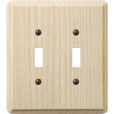 Amerelle 2-Gang Solid Ash Toggle Switch Wall Plate, Unfinished Ash