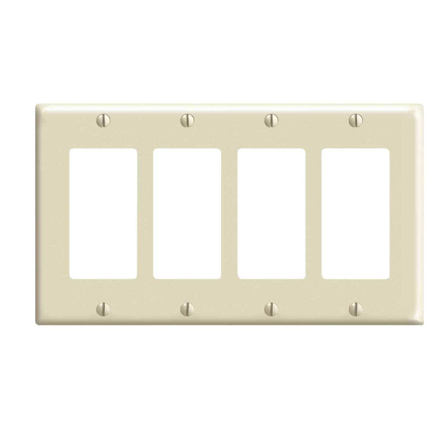 Leviton Decora 4-Gang Smooth Plastic Rocker Decorator Wall Plate, Ivory Image 1