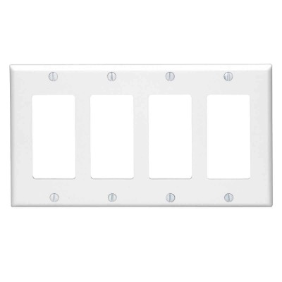 Leviton Decora 4-Gang Smooth Plastic Rocker Decorator Wall Plate, White