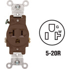 Leviton 15A Brown Commercial Grade 5-20R Shallow Single Outlet Image 1