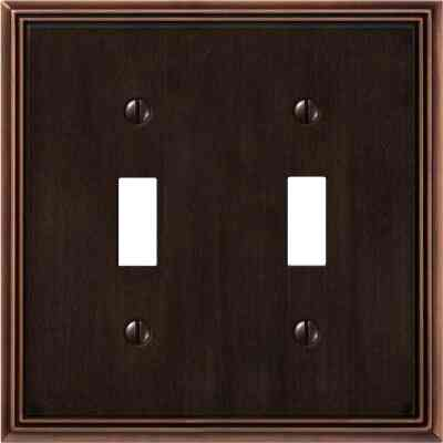 Amerelle Metro Line 2-Gang Cast Metal Toggle Switch Wall Plate, Aged Bronze