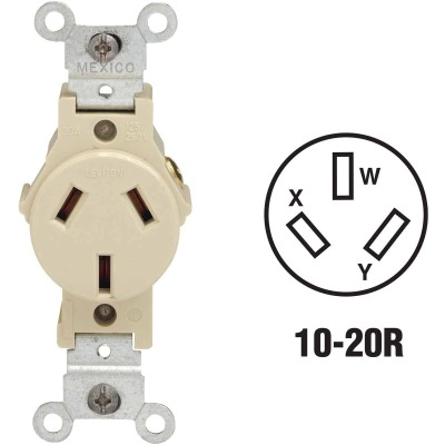 Leviton 20A Ivory Commercial Grade 10-20R Non-Grounding Single Outlet
