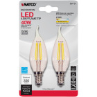 Satco Nuvo 40W Equivalent Warm White Clear CA10 Candelabra LED Decorative Light Bulb (2-Pack) Image 2