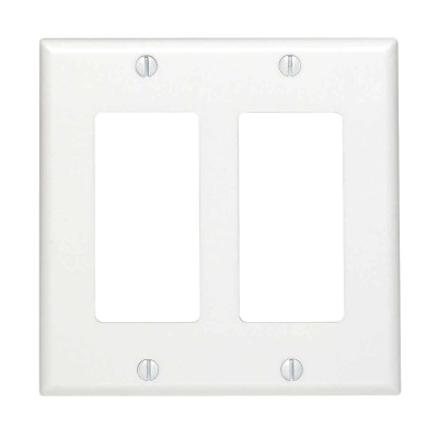 Leviton Decora 2-Gang Smooth Plastic Rocker Decorator Wall Plate, White