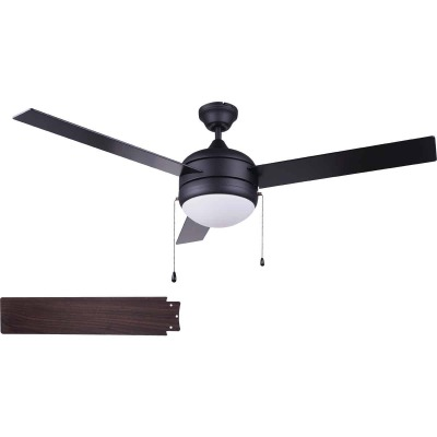 Home Impressions Sardiac 52 In. Black Outdoor Ceiling Fan with Light Kit