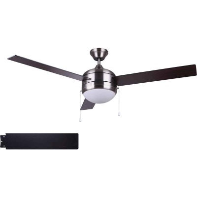 Home Impressions Sardiac 52 In. Brushed Nickel Outdoor Ceiling Fan with Light Kit