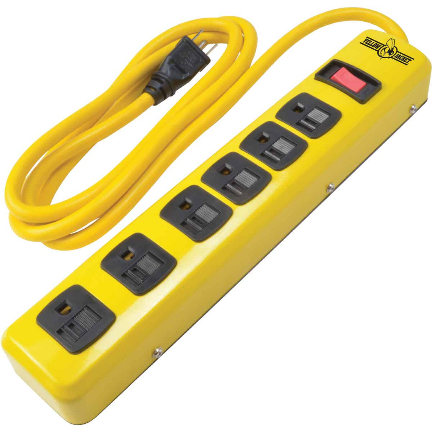 Yellow Jacket 6-Outlet Yellow Metal Power Strip with 6 Ft. Cord Image 1
