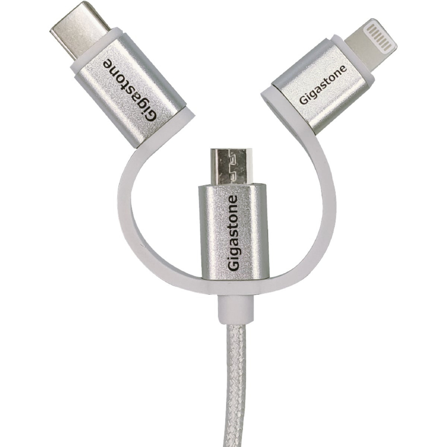 Gigastone 3 Ft. White 3-In-1 USB-A to Micro-USB/Lightning/Type-C Charging & Sync Cable Image 1