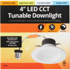 4 In. Retrofit IC Rated White LED CCT Tunable Down Light with Smooth Trim Image 2