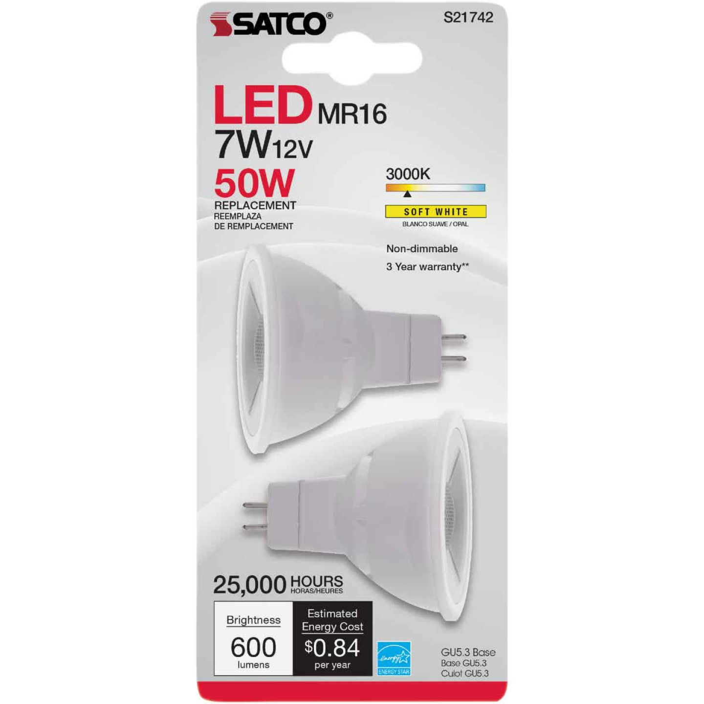 Satco Nuvo 50W Equivalent Warm White MR16 GU5.3 LED Floodlight Light Bulb (2-Pack) Image 2