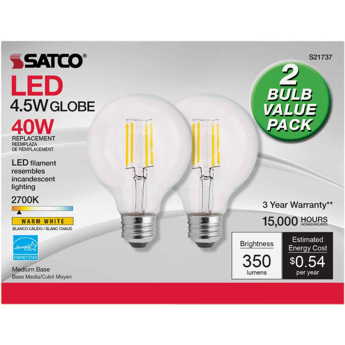 Satco Nuvo 40W Equivalent Warm White G25 Medium Clear LED Decorative Light Bulb (2-Pack) Image 2