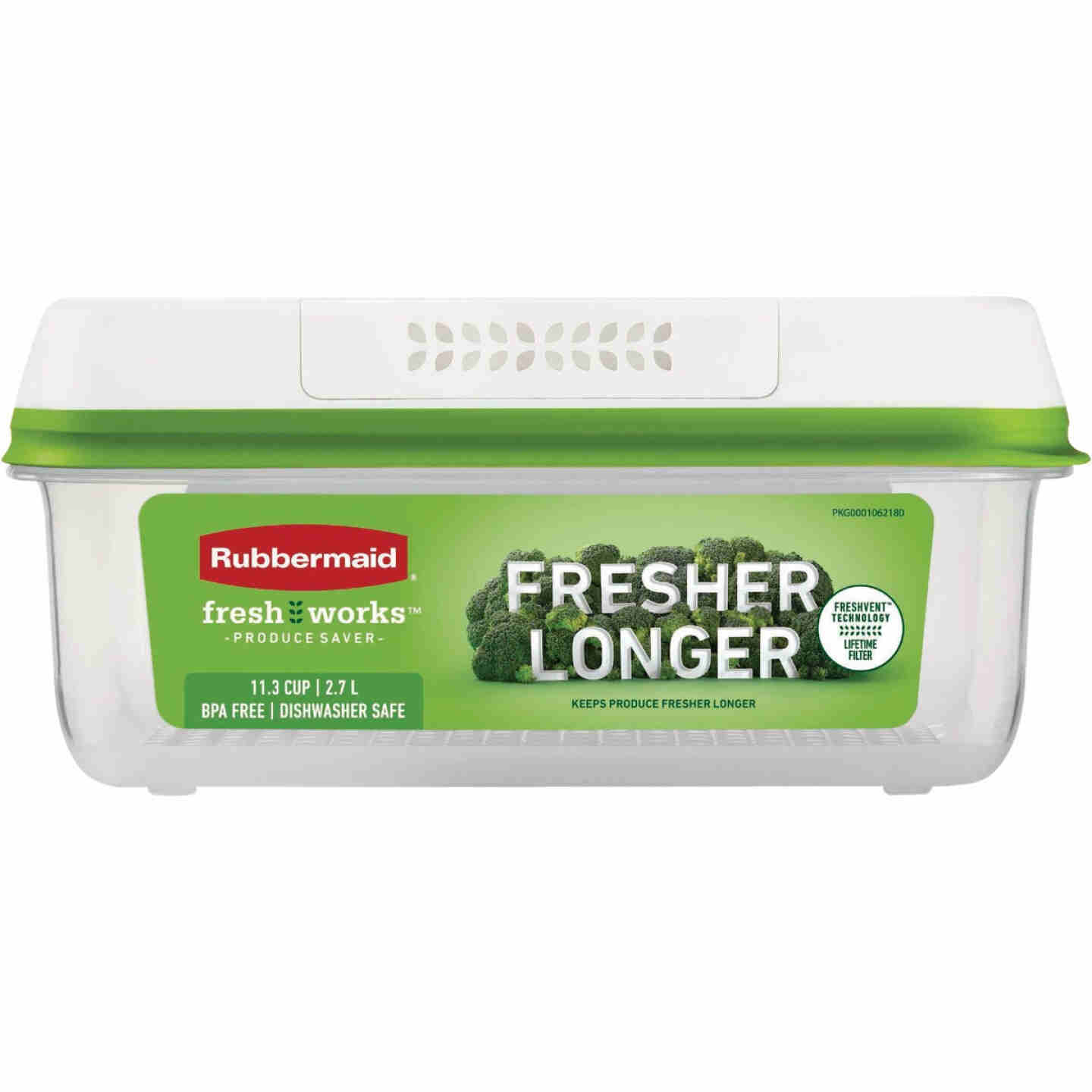 Rubbermaid Freshworks Produce Saver 11.3 C. Rectangle Produce Container Image 1