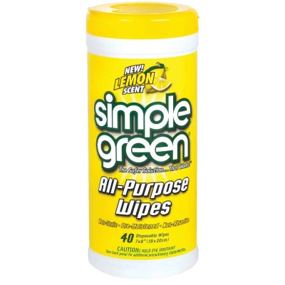 Simple Green Lemon 7 In. x 8 In. Multi-Purpose Wipes (40-Count)