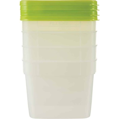 Stor Keeper 1-1/2 Pt. Clear Square Freezer Food Storage Container with Lids (4-Pack)