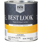 Best Look Latex Paint & Primer In One Eggshell Interior Wall Paint, Ultra White, 1 Qt. Image 1