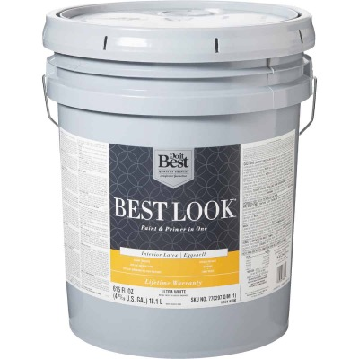 Best Look Latex Paint & Primer In One Eggshell Interior Wall Paint, Ultra White, 5 Gal.