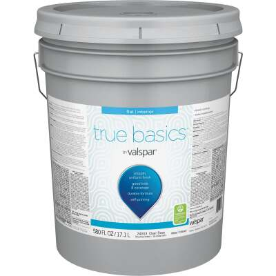 True Basics by Valspar Flat Interior Paint, 5 Gal., Clear Base
