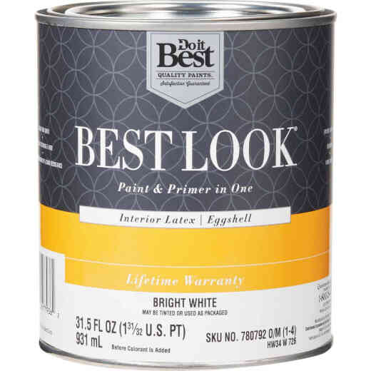 Best Look Latex Paint & Primer In One Eggshell Interior Wall Paint, Bright White, 1 Qt.