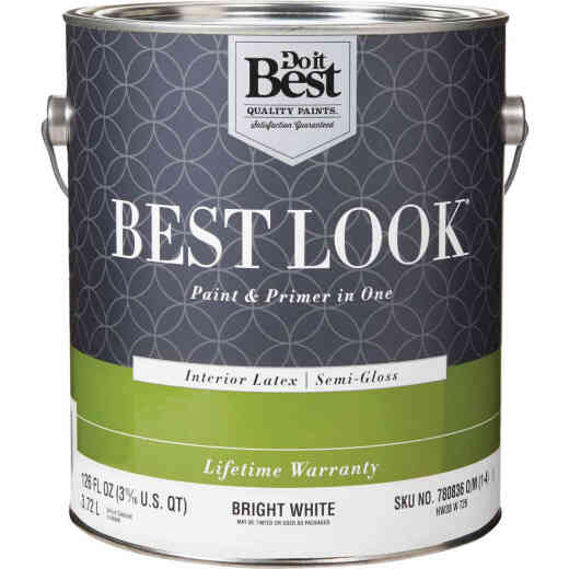 Best Look Latex Paint & Primer In One Semi-Gloss Interior Wall Paint, Bright White, 1 Gal.