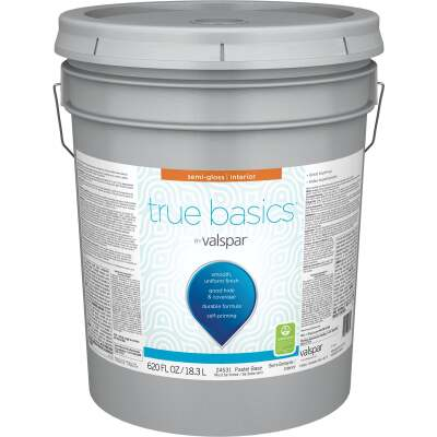 True Basics by Valspar Semi-Gloss Interior Paint, 5 Gal., Pastel Base