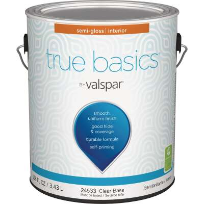 True Basics by Valspar Semi-Gloss Interior Wall Paint, 1 Gal., Clear Base