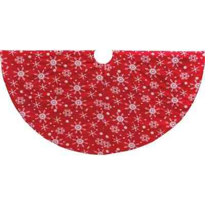 Mission Gallery 48 In. Red Polyester Snowflake Christmas Tree Skirt